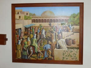 'Triumphal Entry of Jesus into Jerusalem'.  Oil painting.  Gift of local artist,  ??  Date ??