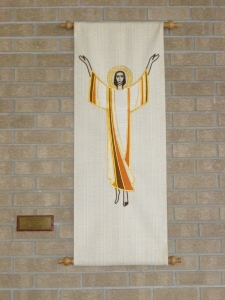 Wall hanging in memory of Elsie Cheetham (1933-1986).   Sanctuary.